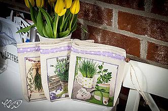 Úžitkový textil - Vrecúška na bylinky- sada fialová - 6507918_