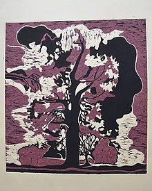 Grafika - Strom - grafika - dvojfarebný linoryt... - 6505935_