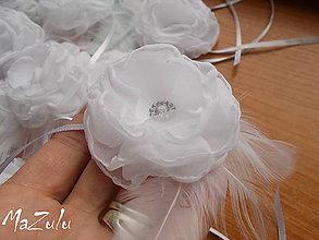 Náramky - svadobné náramky v bielom s perím - 6504966_