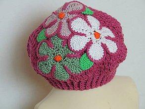 Detské čiapky - Kvetinková baretka - 6504827_