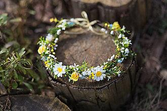Ozdoby do vlasov - Kvetinový venček s margarétkami \