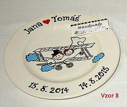 Nádoby - Svadobný tanier - svadba na lietadle - 6507084_