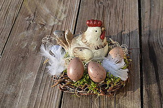 Dekorácie - Prútené hniezdo so sliepočkou - 6509063_