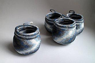 Košíky - Košík - modrý strakatý na zavesenie II - 6511302_
