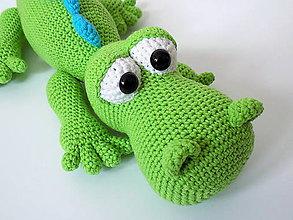 Hračky - Háčkovaný krokodíl Hugo - 6510778_