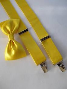 Doplnky - Pánsky motýlik a traky- žltý set - 6512619_