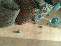 Košíky - Textilné košíky..tyrkys&hnedá - 6511604_