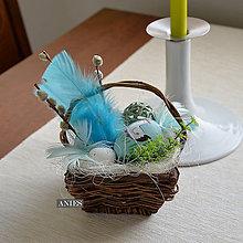 Dekorácie - Veľkonočný košíček- tyrkysový - 6509840_