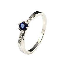 Prstene - Zafírový prsteň z bieleho zlata s briliantmi - 6509655_