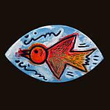 Odznaky/Brošne - Čim-Čim (vypaľovaný vtáčik letiaci oblohou) - 6517194_