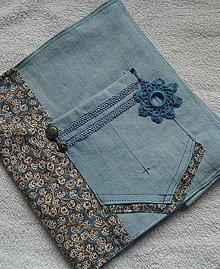 Úžitkový textil - Obal na knihu Jeansový - 6513867_
