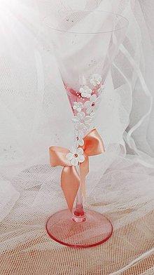 Darčeky pre svadobčanov - Svadobné poháre v broskyňovej - 6515080_