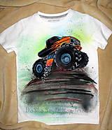 Detské oblečenie - Monster-truck maľované tričko s autíčkom - 6517704_