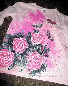 Detské oblečenie - ružičky a motýle - 6517201_