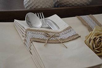 Úžitkový textil - Prestieranie s jutou a krajkou (smotanové) - 6513941_