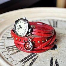 Náramky - ČERVENÉ ELEGANTNÍ HODINKY, omotávací hodinky - 6521911_