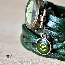 Náramky - ZELENÉ ELEGANTNÍ HODINKY, omotávací hodinky - 6521926_