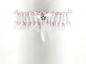 Bielizeň/Plavky - Podväzok růžový saténový s čipkou pre nevestu  07C7 - 6521854_