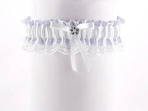 Bielizeň/Plavky - Podväzok fialový saténový s čipkou pre nevestu  07C4 - 6521866_