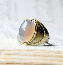 Prstene - Vintage Grey Agate / Prsteň so šedým achátom v bronzovom prevedení - 6519005_