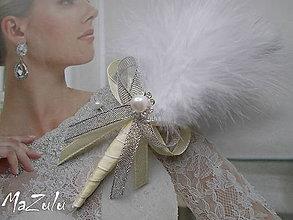 Pierka - svadobné pierko v striebornom - 6519029_