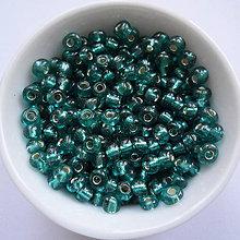 Korálky - Rokajl 4 mm s prieťahom-20g (tyrkys zel.modrá) - 6521681_