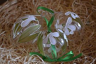 Dekorácie - Kraslica zo skla - snežienka - 6519866_