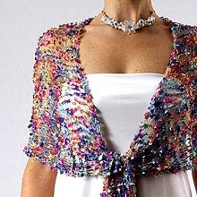 Šály - Kdesi nad duhou | čipkovaný pletený šál - 6522236_