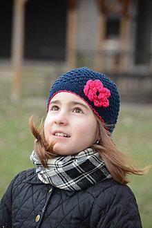 Detské čiapky - Tmavěmodrá a růžová - 6524009_