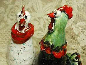 Dekorácie - keramika - kohútik so sliepkou... - 6524174_