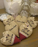 Darčeky pre svadobčanov - srdiečka ďakujeme - vtáčiky vo vínovej - 6528398_