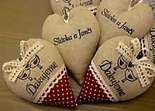 Darčeky pre svadobčanov - srdiečka ďakujeme - vtáčiky vo vínovej - 6528402_