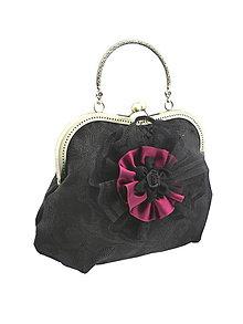 Kabelky - Spoločenská  dámská čierná kabelka plesová 18F - 6529704_
