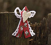 Pierka - Svadobné pierko červené s kvetmi - 6529049_