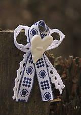 Pierka - Svadobné pierko s modrým vzorom - 6529096_