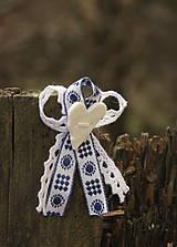 Pierka - Svadobné pierko s modrým vzorom - 6529098_