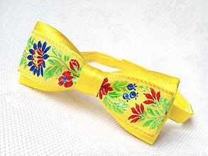 Doplnky - Folklórny pánsky motýlik (žltý) - 6526363_