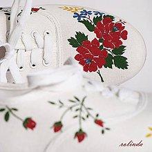 Obuv - Folklórní svatební tenisky - růže II. - 6528044_