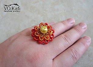 Prstene - -20% Gerbera - červeno-oranžový sutaškový prsteň - 6527311_