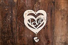 Dekorácie - Drevené srdiečko - Dve srdcia, jedna láska - 6525541_