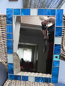 Zrkadlá - Tiffany zrcadlo Tyrkysové s detailem, 41x56 cm - 6527447_