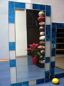 Zrkadlá - Tiffany zrcadlo Tyrkysové , 36x71 cm - 6527501_