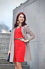 Kabáty - Dlhé sako béžovej farby - 6526664_