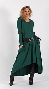 Šaty - Zelené šaty se zvonovou sukní - 6531867_