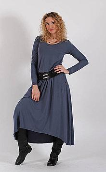 Šaty - Šedé šaty se zvonovou sukní - 6531924_