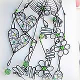 Dekorácie - srdiečková zvonkohra v zelenom - 6532688_