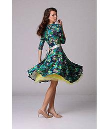 Šaty - Zeleno tyrkysové šaty s kruhovou sukňou - 6532117_