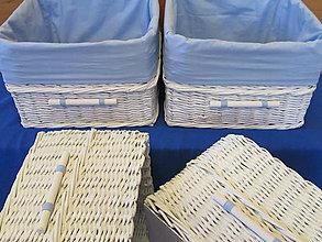 Košíky - Biely košík s belasou výstelkou - 6531205_