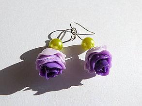 Náušnice - Fialová ruža náušnice - 6532148_