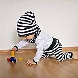 Detské oblečenie - Tepláky (čierne pruhovano-bodkované) - 6530606_
